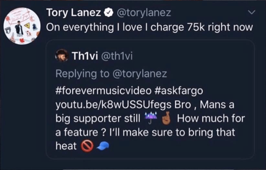 how much does tory lanez charge for a feature